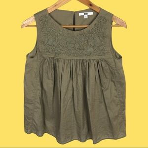Uniqlo Cotton Green Embroidered Sleeveless Blouse